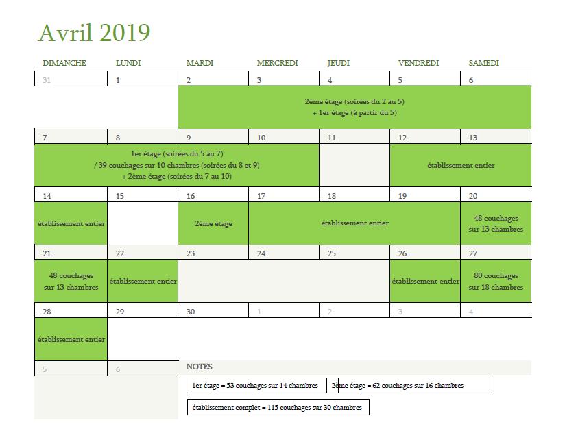 Calendrier des disponibilités pour avril 2019