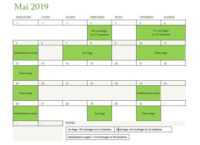 Calendrier des disponibilités pour mai 2019