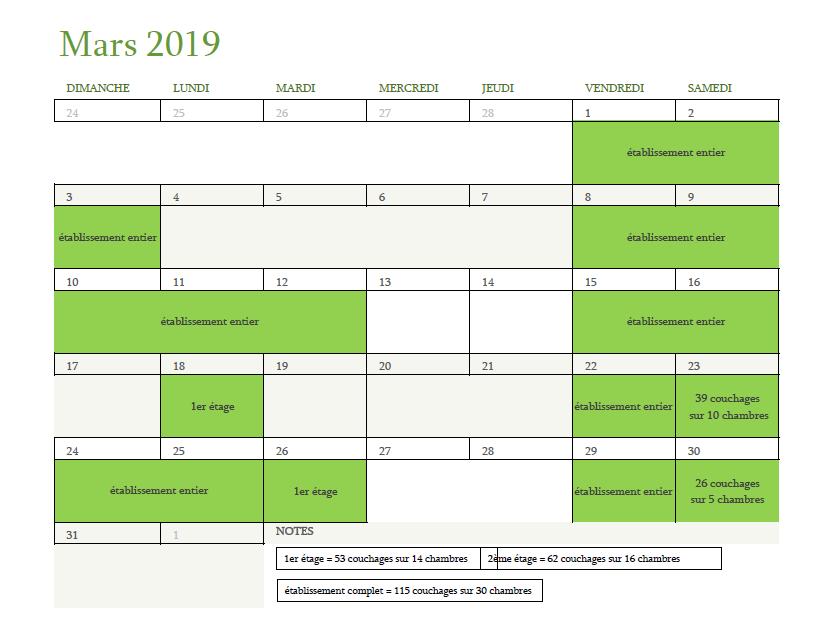 Calendrier des disponibilités pour le mois de mars 2019